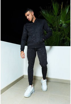 Mens Black Embossed Baroque Bomber Tracksuit