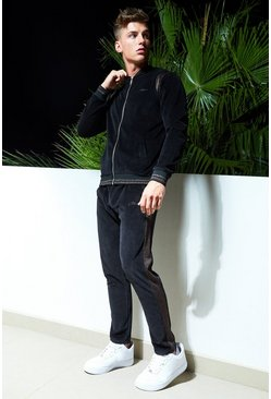 Mens Black Man Velour Bomber Tracksuit With Metallic Panels