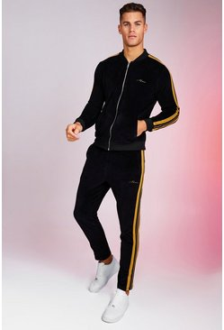 Mens Black MAN Velour Bomber Tracksuit With Gold Tape