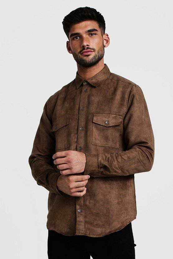 Mens Tan Western Faux Suede Long Sleeve Shirt