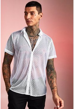 Mens White Short Sleeve Sheer Polka Dot Shirt