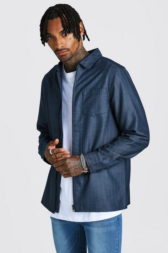 Navy Jacquard Zip Through Overshirt