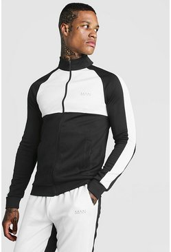 Mens White MAN Funnel Neck Colour Block Zip Through Track Top