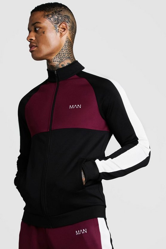 Mens Burgundy MAN Funnel Neck Colour Block Zip Through Track Top