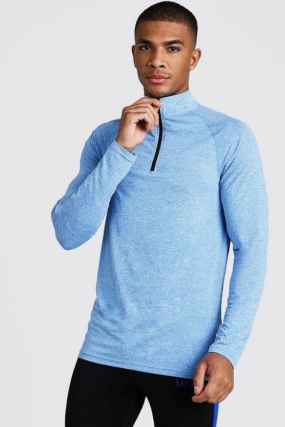 Mens Blue Active Funnel Neck Muscle Fit Marl Top