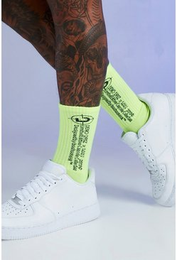 Mens Neon-green Deno Driz 1 Pack Tube Sock