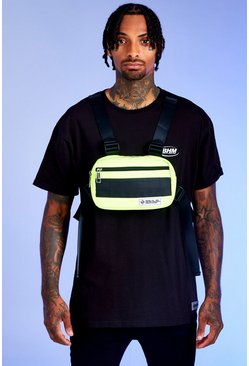 Mens Neon-green Deno Driz Harness Bag With Rubber Branding