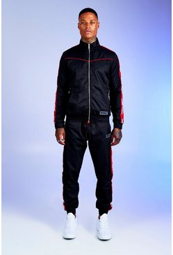Mens Black Deno Driz Shell Tracksuit With Red MAN Tape