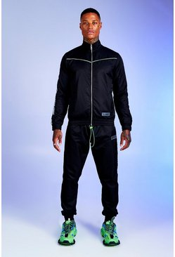 Mens Black Deno Driz Shell Tracksuit With MAN Tape