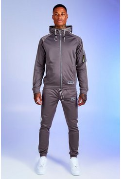 Slate Deno Driz Tricot Hooded Funnel Neck Tracksuit