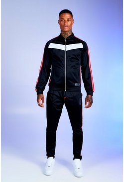 Black Deno Driz Colour Block Tricot Tracksuit
