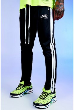 Mens Black Deno Driz White Tricot Joggers With BHM Print