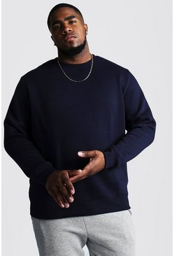 Navy Big and Tall Basic Sweater