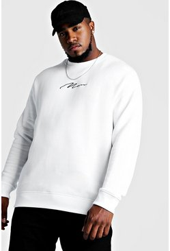 White Big and Tall MAN Script Sweater