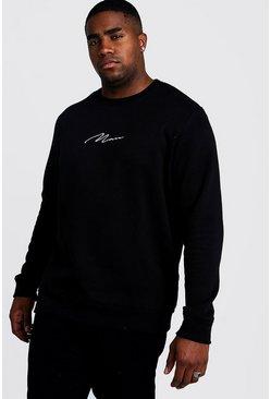 Black Big and Tall MAN Script Sweater