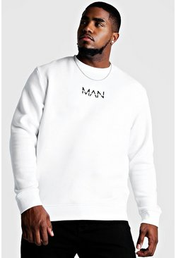 Mens White Big and Tall MAN Dash Sweater