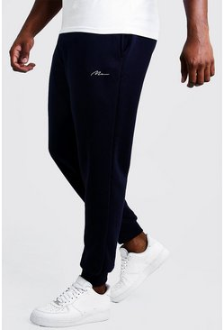 Mens Navy Big & Tall Slim Fit Joggers With Man Embroidery