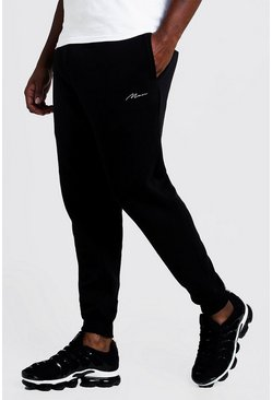 Black Big and Tall MAN Script Skinny Fit Jogger