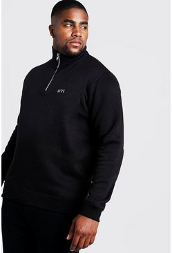 Mens Black Big and Tall MAN Dash Funnel Neck Jumper