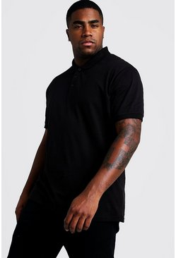 Black Plus Size Basic Short Sleeve Polo