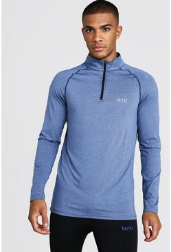 Mens Navy MAN Active Funnel Neck Muscle Fit Marl Top