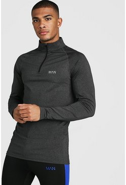 Mens Black MAN Active Funnel Neck Muscle Fit Marl Top