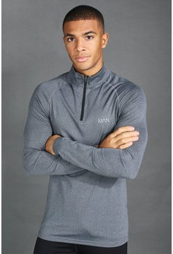 Charcoal MAN Active Funnel Neck Muscle Fit Marl Top