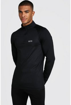 Mens Black MAN Active Funnel Neck Top