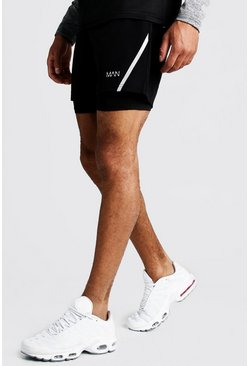 MAN Active 2-in-1 Fitness-Shorts, Schwarz, Herren