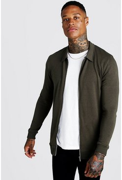 Muscle Fit Harrington-Jacke aus Jersey, Khaki