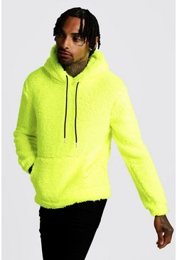 Mens Neon-yellow Borg Over The Head Hoodie
