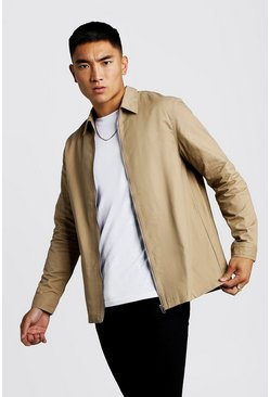 Taupe Cotton Zip Through Overshirt
