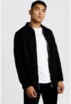 Black Cotton Zip Through Overshirt