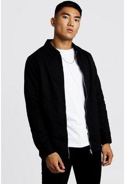 Black Cotton Zip Through Overshirt