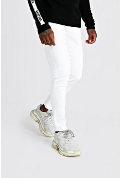 Mens Skinny Fit Denim Jeans In White