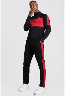 Survêtement poly rouge colour block MAN, Noir, Homme