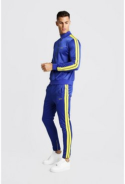 Mens Purple Skinny Fit MAN Funnel Neck Tracksuit
