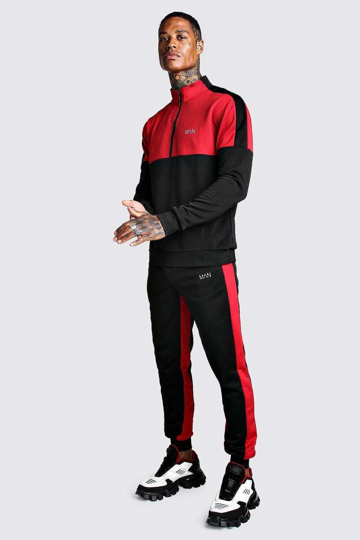 King Kouture Mens Retro Colour Block Skinny Fit Biker Tracksuit in Red Large