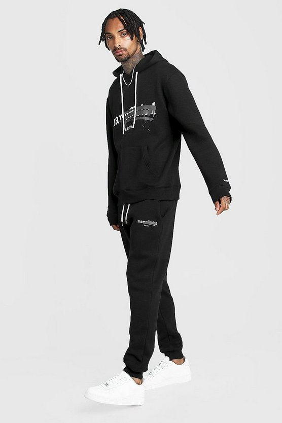 Mens Black Graffiti MAN Official Hooded Tracksuit