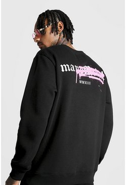 Mens Black Graffiti MAN Official Back Print Sweater Tracksuit