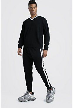 Mens Black Loose V Neck Jumper & Jogger Stripe Detail Set