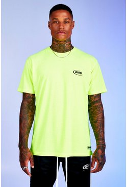 Mens Neon-green Deno Driz Loose Fit T-Shirt With BHM Print