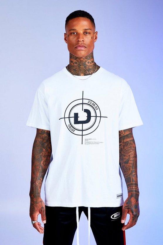 Mens White Deno Driz Loose Fit T-Shirt With Print