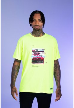 Mens Neon-green Deno Driz Loose Fit T-Shirt With Print