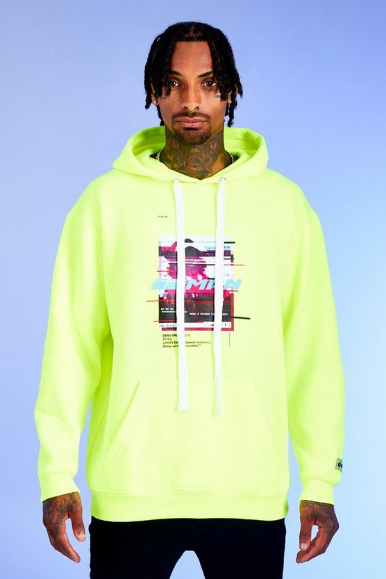 Mens Neon-green Deno Driz Loose Fit Hoodie With Print