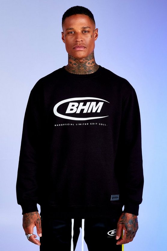 Mens Black Deno Driz Loose Fit Sweater With BHM Print