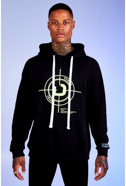 Mens Black Deno Driz Loose Fit Hoodie With Target Print