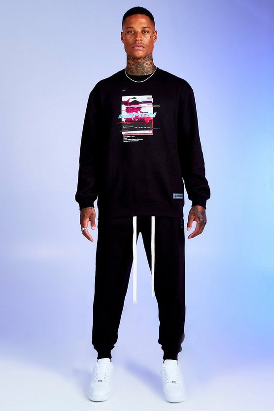 Black Deno Driz Tracksuit With Graphic Print