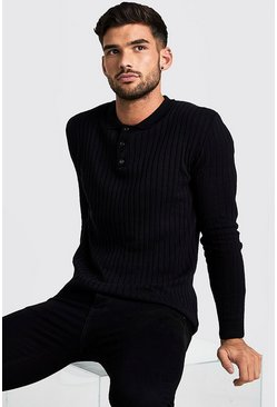 Mens Black Muscle Fit Long Sleeve Ribbed Knitted Polo