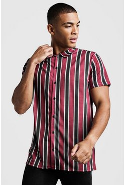 Mens Burgundy Short Sleeve Stripe Shirt